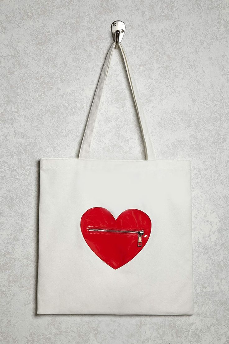 Faux Leather Heart Canvas Tote