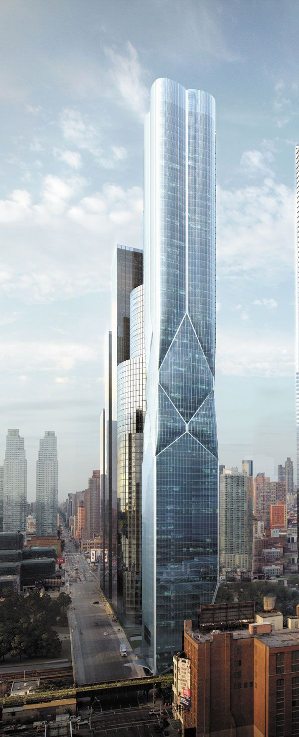 D Tower, Hudson Yards Development, 11th Avenue - 30th Street, New York City by Diller Scofidio + Renfro Architects :: 75 floors, height 257m, residential tower