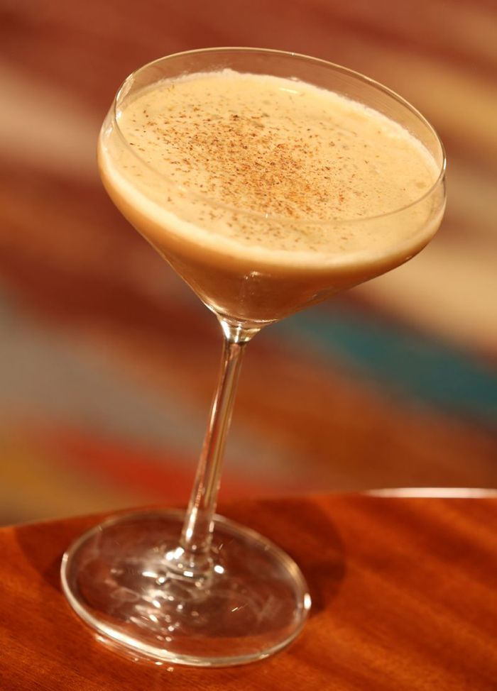 Brandy Alexander: 2oz Crème de Cacao Dark, 2 oz Courvoisier VSOP, 1 ½ oz Heavy Cream, 1 Egg White