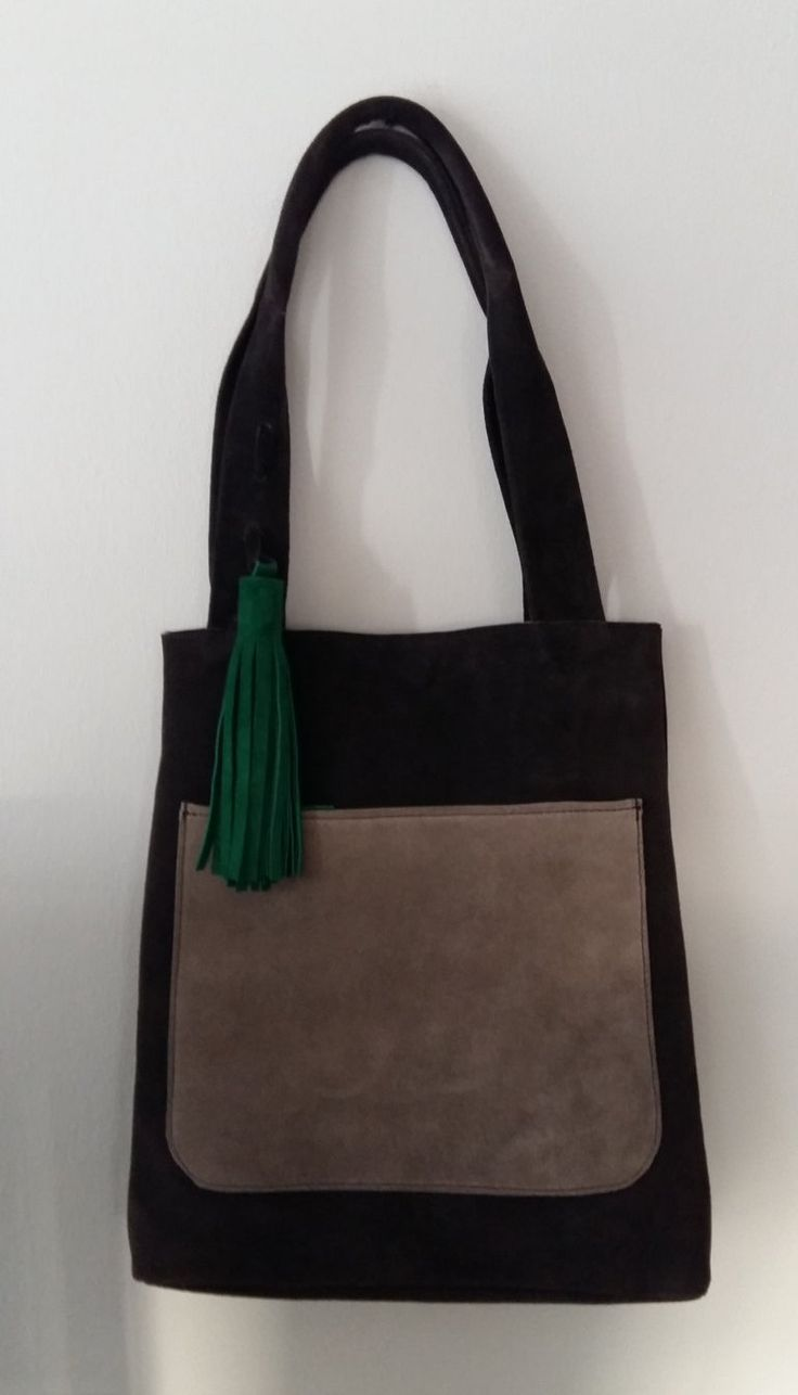 Suede leather shopping tote by UJaneBags on Etsy