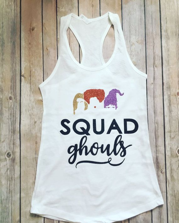 Hocus Pocus Adult Disney Glitter Tank Top, perfect halloween. This is adult sizing. **In note to seller please list** 1). color of witches (left, middle, right): old gold glitter, copper glitter, lavender glitter) 2). color of squad ghouls: black glitter 3). color of tanks: white IF YOU LIKE THE SHIRT AS SHOWN, PLEASE LIST AS SHOWN