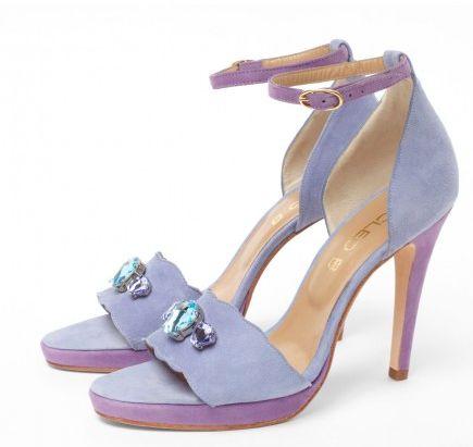 CLEO B 'Pepper' lilac and blue high-heeled platform sandal with Swarovski shell detailing. #sea #monsters #summer #shoe #collection #lilac #blue #suede #swarovski #crystal #beatles #inspiration #fashion #designer #london #pepper