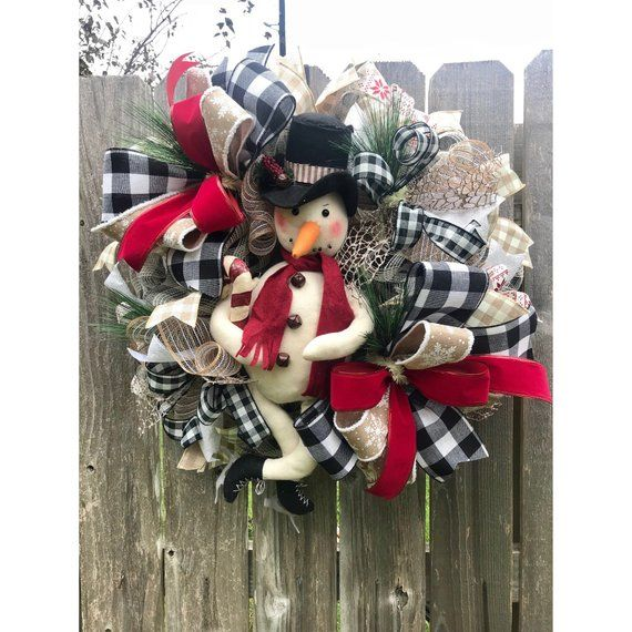 Snowman Wreath Winter Wreath Christmas Wreath Let It Snow Wreath Rustic Winter Wreath Primitive Snowman Wreath Snowman Decor Christmas Wreaths Snowman Decorations Snowman Wreath