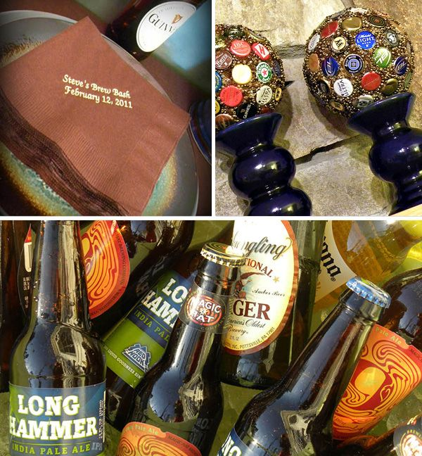 """A Pub-Inspired Brew Bash - bottle caps to styrofoam balls and glued beads all around the caps to create bottle cap """"baubles."""""""