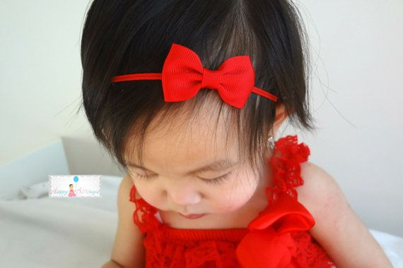 Baby headband Petite Red Bow Baby Girls Headband/ by HappyBOWtique, $5.99