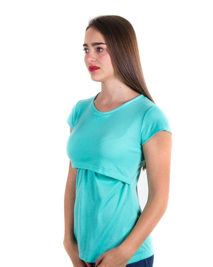 blusa menta básica de lactancia www.semillazul.com