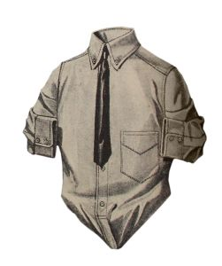 While most men wore dress shirts for 90% of their life, the working class, the young men, and the weekend sportsmen wore casual shirts which were long sleeved and collared just like dress shirts. The sport shirt was usually a single color, in a heavier durable fabric such as twill, wool, or flannel for manual work and rugged sports (hunting, hiking, fishing, etc)