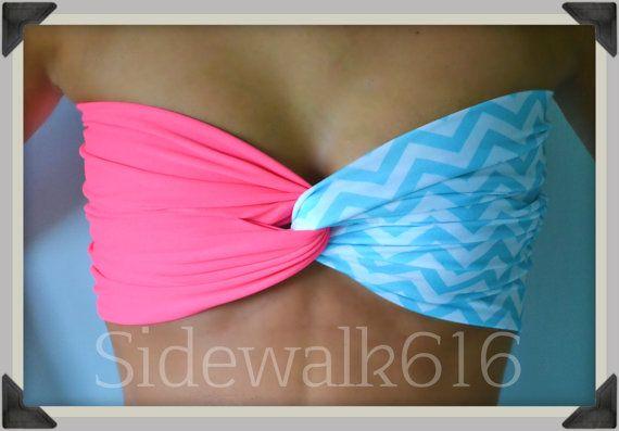 Coral Mint Chevron Bandeau Top Spandex Bandeau Bikini Swimsuit <3