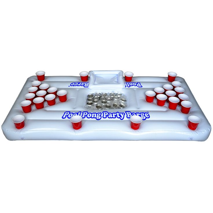perfect for floating at the pool or the river! (Party Barge Pool Beer Pong Table)