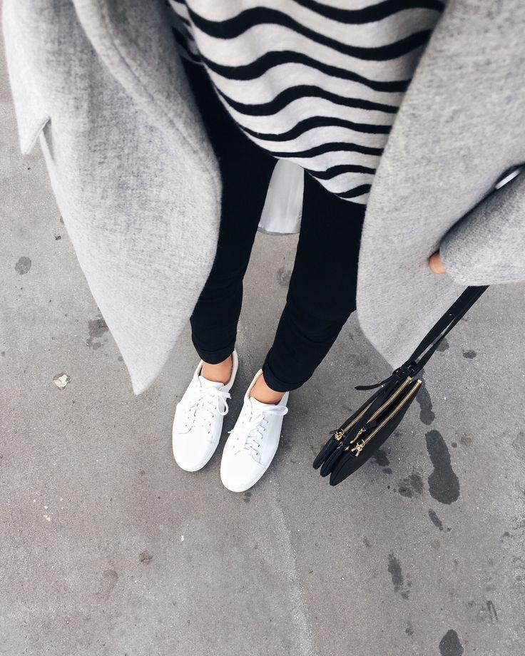 white stripes MINIMAL + CLASSIC: Nili Lotan coat, A.P.C. sneakers & Celine trio. Via Mija… - http://sound.saar.city/?p=18118