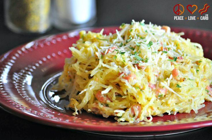 Spaghetti Squash Carbonara - Low Carb, Gluten Free, Primal