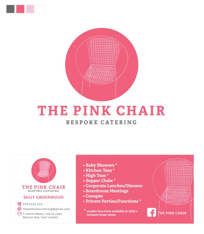 Andrea Barras. Logo, Identity & Business Card: The Pink Chair