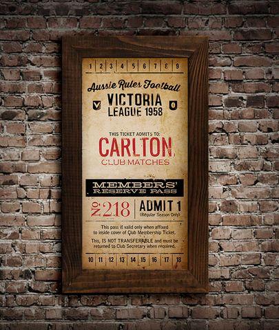 Carlton Vintage Ticket Poster Print