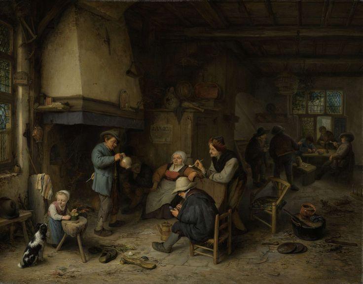 Adriaen van Ostade   Peasants in an Interior, Adriaen van Ostade, 1661   Boerengezelschap binnenshuis. Herberginterieur met op de voorgrond een gezelschap verzameld rond de haard. De mannen drinken en roken, links een meisje met een hond. Tegen de houten kast is een prent geplakt. Op de achtergrond zittende en staande boeren bij een tafel.