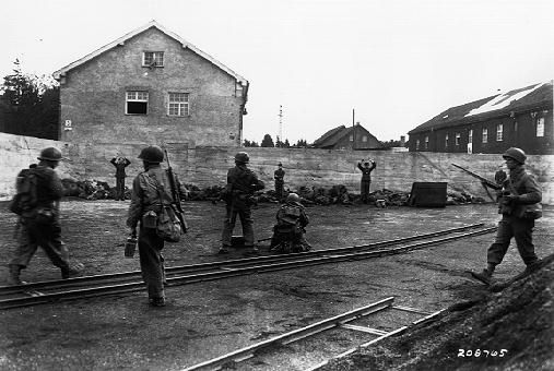 World War II April 29, 1945 - U.S. 7th Army liberates Dachau extermination camp. This is the infamous event where many guards were executed by the US Army who were disgusted by their behaviour.
