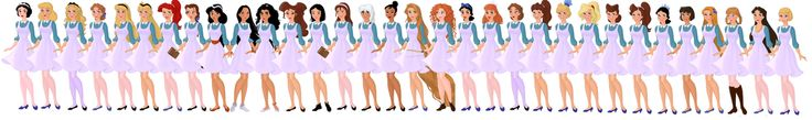 Disney All-Girls Academy Students by ~supereilonwypevensie on deviantART. Snow White, Cinderella, Alice, Wendy  Aurora, Eilonwy, Ariel, Belle, Jasmine, Pocahontas. Esmeralda,Megara, Mulan,Jane, Kida,Tiana, Rapunzel, Merida,Drizella,Anastasia,Mathilda  Aquata,Andrina,Arista,Attina,Adella,Alana, Gabriella(Little Mermaid TV),Giselle, Anna (Frozen),Vanessa (Little Mermaid),Lottie
