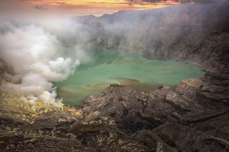Krater, Wulkanu, Jezioro, Skały, Dym