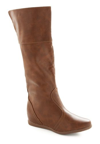 Can't wait to get these! They just got back in stock, I've been waiting months!: Heels Boots I, Modcloth Boots, Boots Boots, Leather Boots, Riding Boots, Brown Boots, Brown Flat Boots, 2 Inch Heels, Boots 49 99