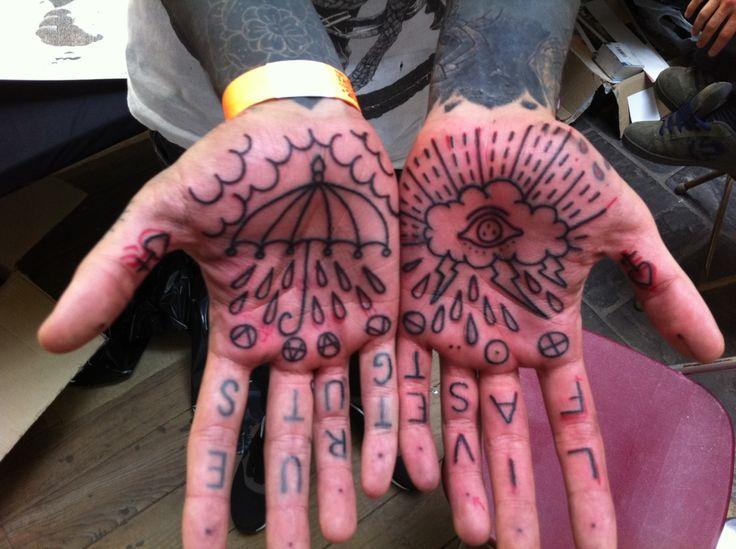 .: Tattoo Ideas, Rainy Tattoo, London Tattoo, Rain Tattoo, Hands Tattoo, Tattoo Design, Living Fast, Tattoo Art, Palms Tattoo