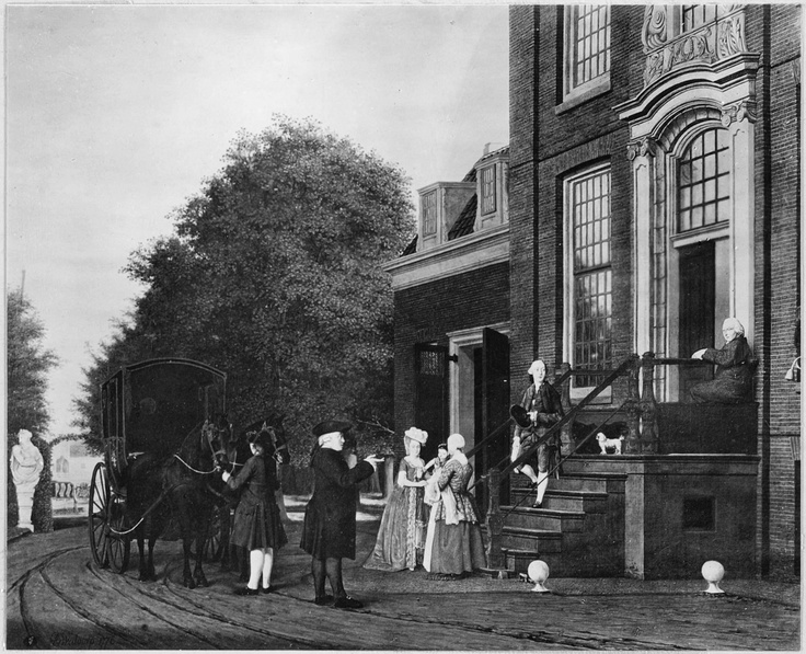 The Gildemeester family at the front porch of Frankendael, Amsterdam. The Gildemeester family spent summers at the manorial estate during the eighteenth century.