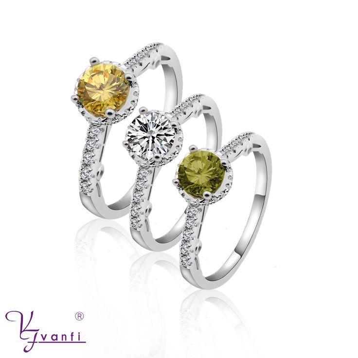 KFVANFI Wholesale Fashion Women's Wedding Rings Luxury Hearts&Arrows Cut Yellow Zircon Ring Size 5 6 7 8 9 10 FJ015398R