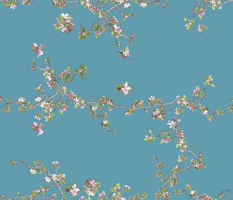 Apple Blossom on torquoise blue fabric by emily_bieman on Spoonflower - custom fabric