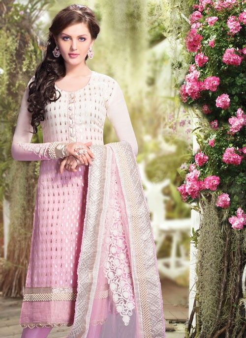 Elegant Off White & Pale Pink Banarsi Silk #Salwar Kameez #salwarkameez #pakistanisalwarkameez #womenapparel #ethnicwear