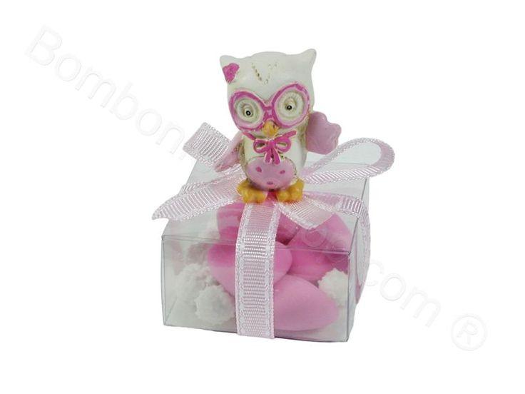 Gufetto confezionato su scatolina in pvc con nastri rosa  #scatolina #gufetto #bomboniera #battesimo #economica