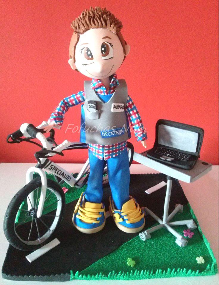 Fofucho con su bicicleta y portátil  http://fofuchasnuki.blogspot.es/ #fofucho #fofucha #gomaeva #bici #bicicleta #portatil