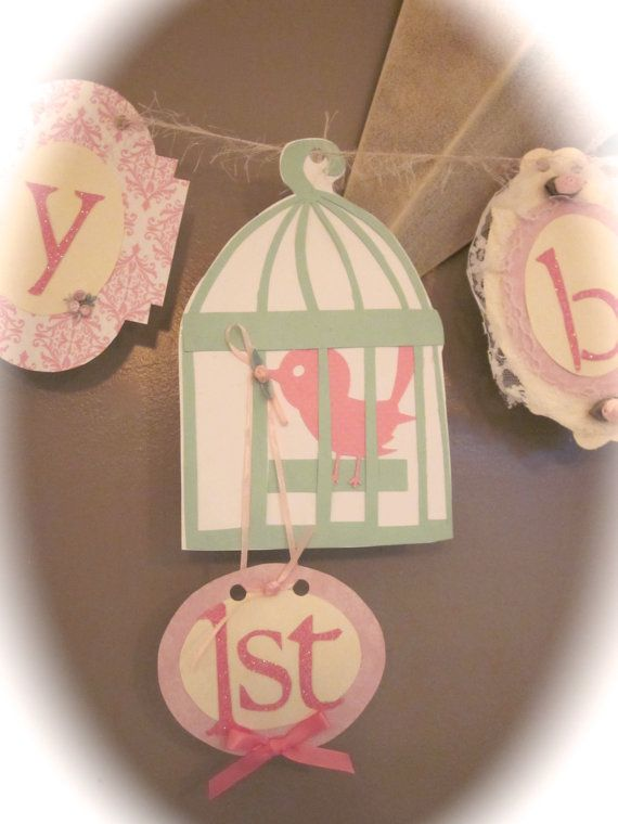 Happy first 1st Birthday Banner girl birthday party sign decorations shabby chic vintage style birdcage bird on Etsy, $30.50