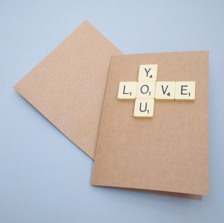 Valentine Wedding Anniversary Card. Love you scrabble tiles. £2.50, via Etsy.