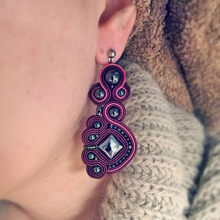 Soutache earrings with hematite.