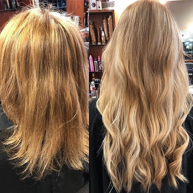 Wow! We love this stunning before and after! #TransformationThursday  Repost from @amandajkelley   #beforeandafter Oh the stars ✨ sure did align for this lovely lady!! When you fix a color and add extensions to make her beautiful!! When you come see me #amandajkelley #amazingamandadidyourhair you leave #happy #klixhairextensions #klix #brazilianbondbuilder #thairapysalonandspabmt
