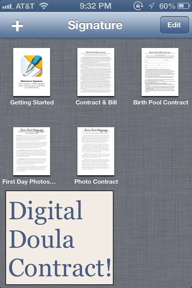 My final step towards going paperless with my doula business - digital contract signing!  BetterBirthDoula.org