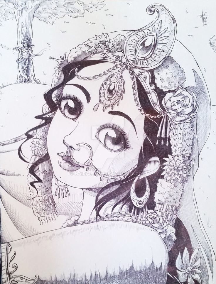 Traditional Sketch Srimati Radharaniu0026#39;s Smile By Nairarun15 | Divine Art | Pinterest | Sketches ...