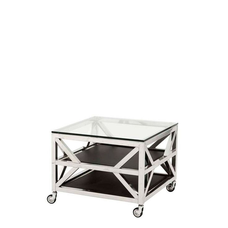 Eichholtz+Prado+Square+Side+Table+-+Eichholtz+Prado+square+glass+and+stainless+steel+side+table+with+modern+castor+feet.++This+piece+will+bring+instant+luxury+to+your+lounge+interior,+and+each+table+has+a+highly+polished+frame+detail+which+criss+crosses+the+design+in+elegant+proportions+to+give+a+glamorous+architectural+style.