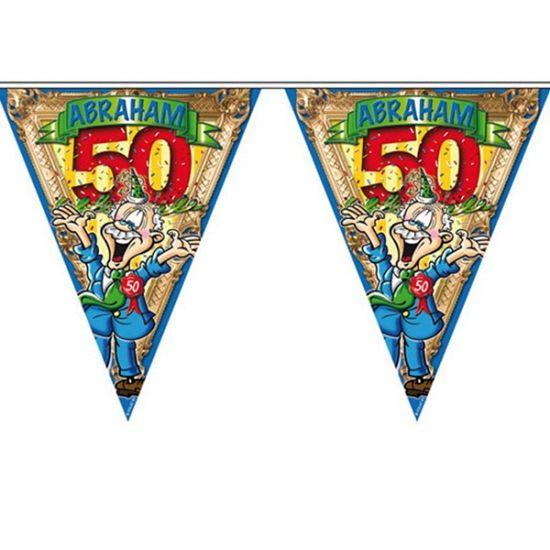 Abraham 50 jaar vlaggenlijn 6 meter. Feestelijke vlaggenlijn voor een 50e verjaardag. De Abraham vlaggenlijn is ongeveer 6 meter lang, en de vlaggetjes zijn ongeveer 36 x 36 x 20 cm groot. Materiaal: plastic.