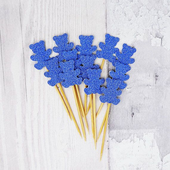 Blue glitter teddy bear cupcake toppers New baby cake picks