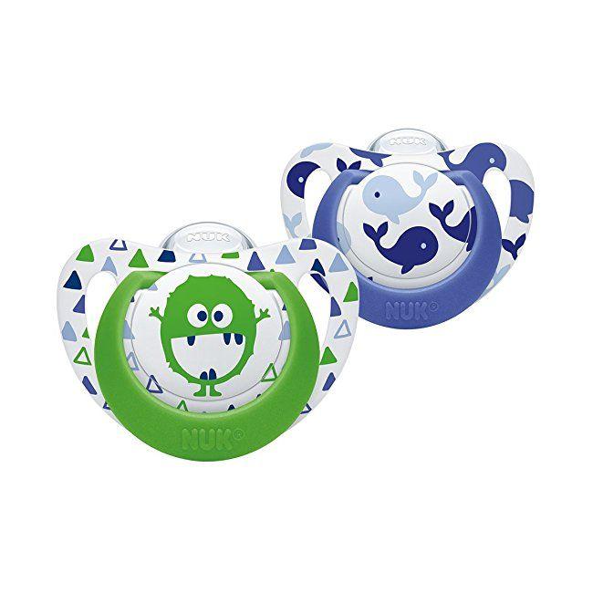 NUK Genius Baby Dummies 0-6 Months BPA Free Silicone Blue Design... 2 Count
