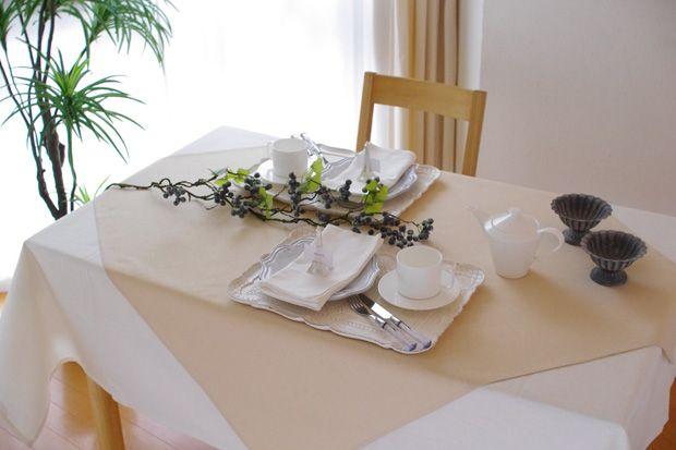 撥水加工のテーブルクロス 無地 カマンベール(白)   サイズ別で探す,長方形,130×200cm     テーブルクロスの専門店 ルームレシピ