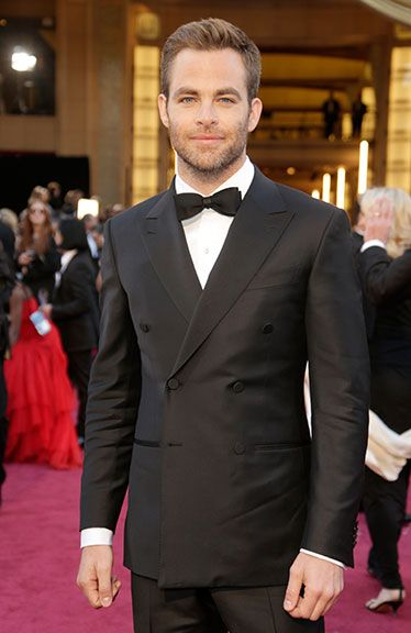 Chris Pine with great hair, stubble and sharp suit Best Dressed Men Oscars 2013 - Esquire