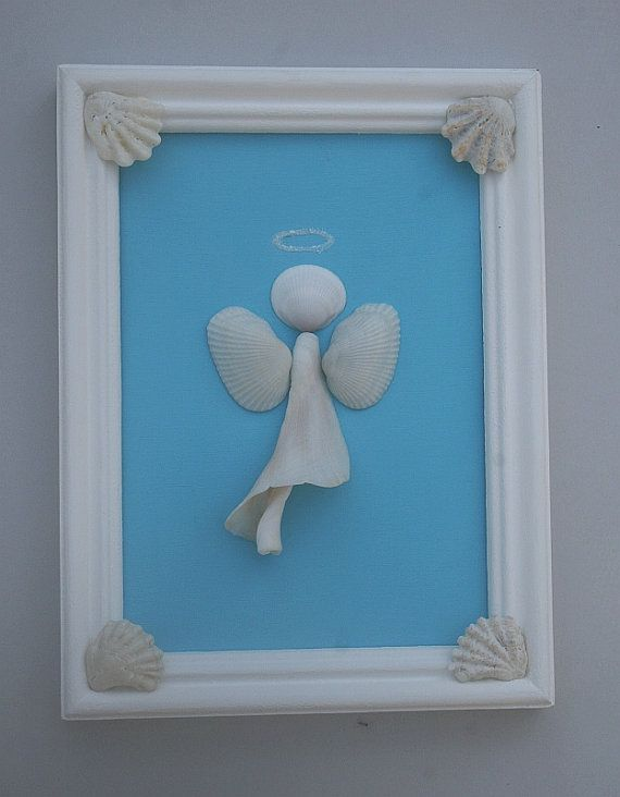 Framed Shell Art Beach Angel Coastal Decor by AngelHeartCreations, $20.00
