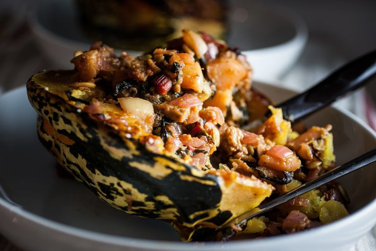 Stuffed Sage Carnival Squash | Carnivals, Squashes and Thanksgiving ...
