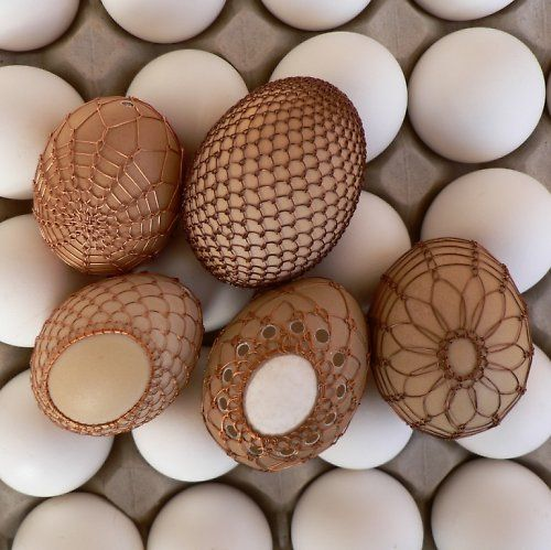 Copper wired easter eggs. Interesting concept
