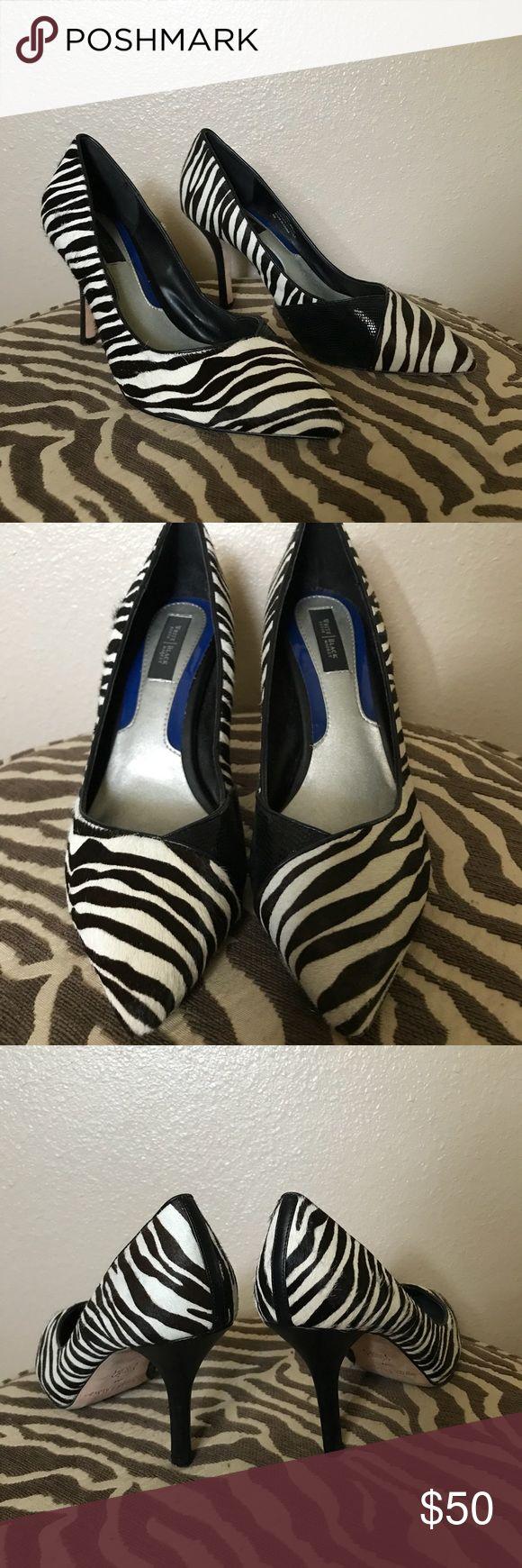 WH/BM Zebra Heels Pre-owned. Excellent condition. White House Black Market Shoes Heels