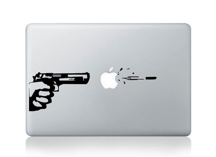 Gun - Decal Macbook Stickers Macbook Decals Apple Sticker for Macbook Pro / Macbook Air / iPad / iPad2 / New iPad / iPhone 4. $6.80, via Etsy.
