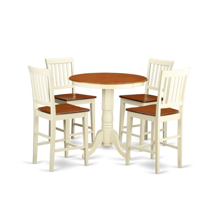 Cream Ivory And Off White Solid Wood Five Piece Pub Table. Solid Wood Pub Table And Chairs   Table Designs
