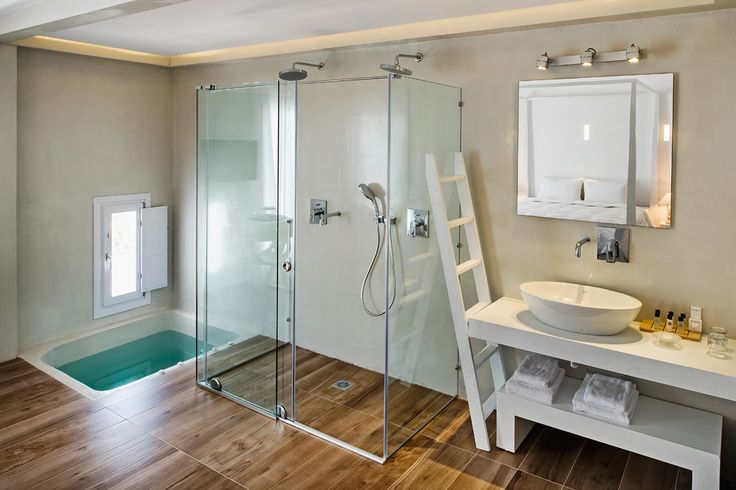 Glass shower and indoor Jacuzzi of Cavo Bianco Honeymoon Suite   www.cavobianco.com