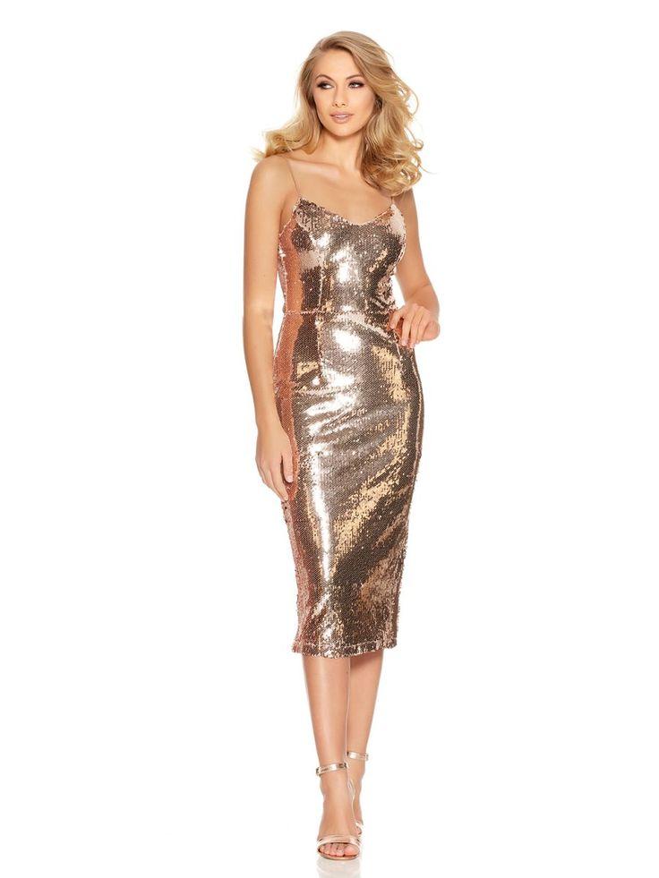 Rose Gold Sequin Midi Dress - Quiz Clothing