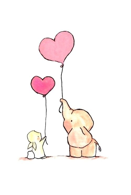 art, balloons, bunny, cute, drawing, elephant, heart